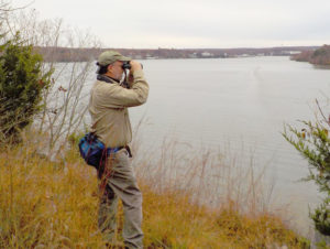 CAS member John Besser scans the horizon at Lake of the Ozarks State Park.