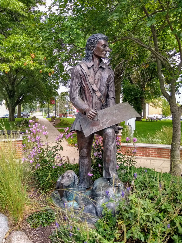 John James Audubon statue in Audubon, Iowa. Photo by Louise Flenner.